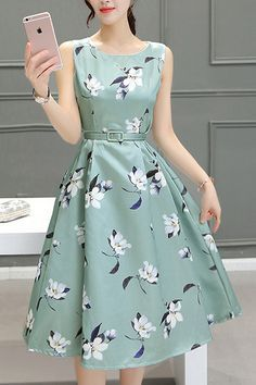 Beautiful High Waist A Line Dress Love the shape- pattern is OK
