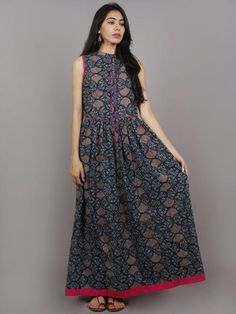 Indigo Pink Beige Ivory Long Sleeveless Ajrakh Hand Block Printed Cotton Dress With Knife Pleats & Side Pockets - D4663001