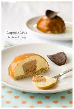 Cappuccino-Mascarpone Cakes - coffee flavored sponge, a mascarpone mousse, cappuccino core, and a coffee glaze :)