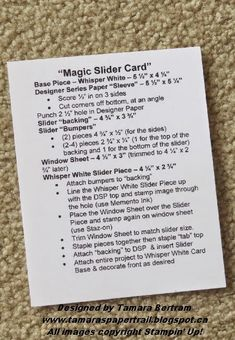 As promised, today I& do my best to walk you through how to make a Magic Slider Card that WON& take you 7 hours like . Card Making Templates, Card Making Tips, Card Tricks, Card Making Tutorials, Card Making Techniques, Making Ideas, Fun Fold Cards, Folded Cards, Slider Cards