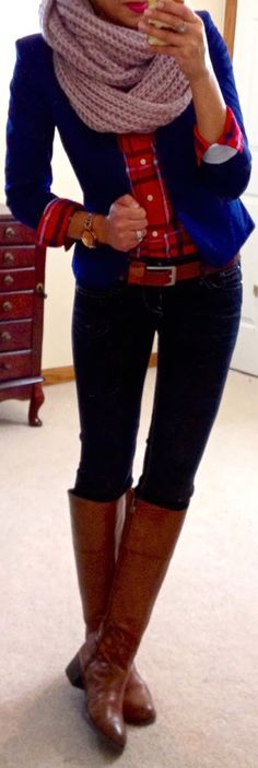 Outfit idea for navy blazer, plaid shirt, skinnies, and riding boots. -LJ