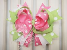 Green Hair Clip with Cute Bunny Toddler Hair Bow for Baby and Girl 17CM ,Free Shipping. $6.00, via Etsy.