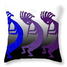 "Kokopelli Rainbow in Moonlight Throw Pillow 14"" x 14"""