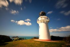 Windy day on the east cape lighthouse in New Zealand.