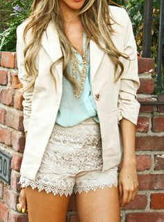 Make your crochet shorts work wearable with this outfit!   Ummm wouldn't wear them to work... Maybe dinner... Cute look