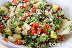 Mango Quinoa Salad 2 cups cooked quinoa* at room temp/chilled 1 14 oz can black beans, drained and rinsed 1 medium mango, peeled and diced 1 red bell pepper, diced 6 green onions, thinly sliced 1 handful chopped cilantro (about 1/2 cup) 4 tablespoon red wine vinegar 3 tablespoons extra virgin olive oil 1-2 tablespoons fresh lime juice kosher salt freshly cracked black pepper