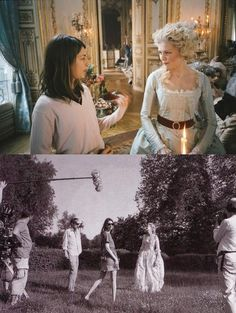 Sofia Coppola on the set of Marie Antoinette with Kirsten Dunst