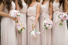 blush pink. wedding bouquets. Vozik Designs. Dresses: Dessy Collection Style 2888 Color: Cameo