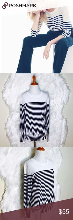 """J.Crew Navy Blue/White Linens Stripe Sweater L46-This easy striped T-shirt is finished with a 100% cotton, slim sleeves, elastic hem & cuff. Laid flat across @ 19"""", length: 25"""". NWOT J. Crew Sweaters Crew & Scoop Necks"""