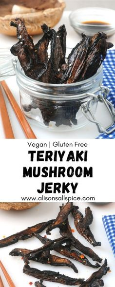 Make your own homemade, vegan and gluten free, teriyaki mushroom jerky. This delicious snack has a toothsome texture like you would expect from real jerky! Mushroom Jerky Recipe, Mushroom Recipes, Jerky Recipes, Raw Food Recipes, Freezer Recipes, Drink Recipes, Freezer Cooking, Cooking Tips, Salami Recipes
