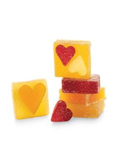 Heart-shaped cutters and French fruit jellies make super cute favors