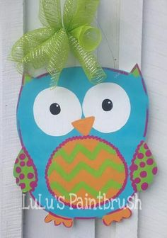 This fun Owl can be personalized with any color, saying or letter you would like! Includes wire and bow. Hand cut, painted and sealed for protection! Made to order.