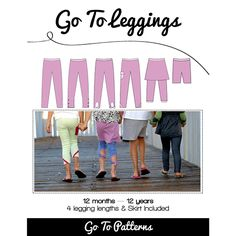 Go To Leggings with Skirt Sewing Pattern - Choose from four lengths for your leggings — shorts, capri, full length, and extra long rouched. PLUS there is a bonus skirt pattern and so many different options! Add an attached skirt, a peek-a-boo hole, pocket, elastic ruching or some bows! Complete your first pair in an hour! :: $10.00