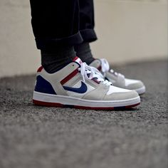 Nike SB Air Force 2 Low - White/Blue/Red Available: SNKRS.COM #Nike #Skate #AirForce #Swoosh