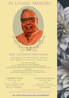 In Loving Memory Chairman of Mohinani Group Sunrise: March 10, 1934 – Sunset: June 12, 2021 Wife : Sheela Mohinani Sons: Ashok, Sunel and Anil Mohinani Daughters in Law: Mehek Sonia and Madhuri Mohinani Grandchildren: Girender, Roshan, Sujan, Shaila, Krsna, Sameer and Shivaan Mohinani Brother and Sister in Law: Kishhin... The post Ram Udharam Mohinani appeared first on Clickongh. Daughter In Law, Sister In Law, Daughters, Sons, Brother, In Loving Memory, Grandchildren, Sunrise, Sisters