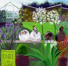 Shelia Smithson - North Yorkshire Open Studios - Inspired by her love of plants in gardens and the wider landscape, Sheila produces paintings and fabrics that are decorative and optimistic.