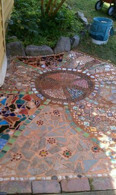 ☮ American Hippie Bohéme Boho Lifestyle ☮  Peace Sign mosaic patio