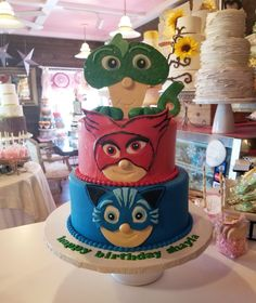 PJ Masks birthday cake #carinaedolce www.carinaedolce www.facebook.com/carinaedolce Pj Masks Birthday Cake, Childrens Parties, Facebook, Party, Desserts, Food, Meal, Deserts, Essen