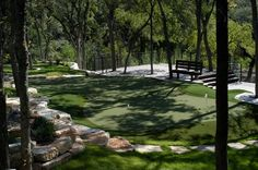 Outstanding SYNLawn synthetic putting green with fringe and fairway.