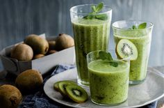 Zingy & vibrant, these smoothies make the best of seasonal kiwi & brighten up winter mornings. Head to Tesco Real Food for more drinks recipes & smoothies. Pineapple Smoothie Recipes, Smoothie Recipes With Yogurt, Smoothie Recipes For Kids, Breakfast Smoothie Recipes, Mango Recipes, Fruit Smoothie Recipes, Good Smoothies, Juice Smoothie, Avocado Recipes