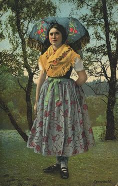 Spreewälderin, Postkarte, ca. 1900