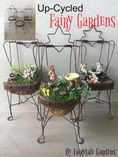 With a wave of my magical fairy wand I up-cycled these cute fairy gardens.!