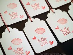 #Hello Love #Valentine'sDay #GiftTags Sealed with a Kiss by BubbleGumDish.com