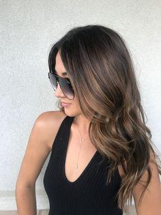 Balayage highlights on brown hair