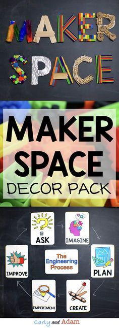 A makerspace is a place in a classroom, library, or other common area of a school where students are encouraged to create, tinker, explore, discover, and invent using a variety of tools and materials. This pack includes makerspace letters as well as the engineering design process posters.