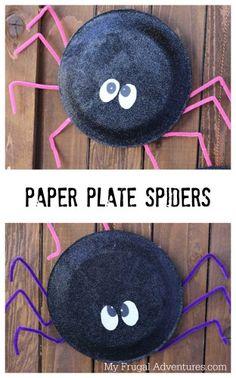 Fun Kids Crafts Halloween - Halloween Craft Idea for Kids Paper Plate Spiders. Kids Crafts, Daycare Crafts, Toddler Crafts, Preschool Crafts, Theme Halloween, Halloween Crafts For Kids, Halloween Activities, Holiday Crafts, Paper Plate Crafts