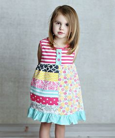 Lollies and Lace Boutique Pink & Teal Patchwork Dress - Infant, Toddler & Girls | zulily