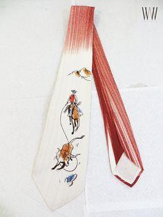 60's Cowboy Hand Painted Tie Vintage Men's Western Silk Designer Necktie