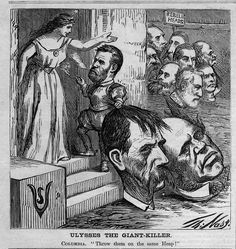 Columbia Rebel Heads Ulysses Grant The Giant Killer Engraving by Thomas Nast Political Satire, Political Cartoons, American Civil War, American History, Santa Claus Images, Illustration Styles, Civil War Photos, How To Antique Wood, Burning Man