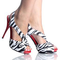 Black-White-Zebra-Fabric Stiletto Womens High Heel Platform Shoes