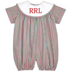 Our Rags Land Red/Kelly Checks Boys Short Bubble! Shop NOW at www.ragsland.com & follow Ragsland on INSTAGRAM!