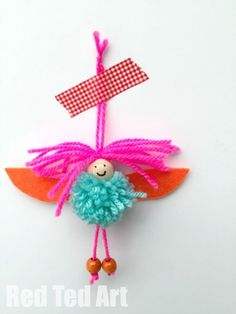 Pom Pom Fairies Ornaments - these are super colourful and cute little Pom Pom fairies invented by my 5yrs old (and made with Mummy's help). I think they are so jolly and happy and make wonderful little ornaments
