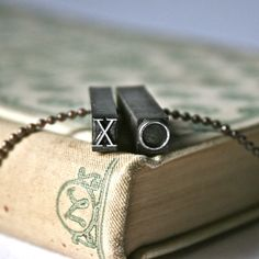 Letterpress Type Vintage Pendant XO for Unisex by ThePaperAssembly $21 + romantic + unisex jewelry + vintage type