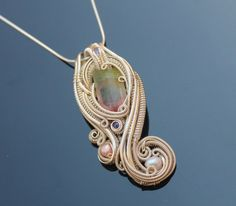 one of a kind handmade statement necklace /Wire wrapped pendant / heady handmade wedding
