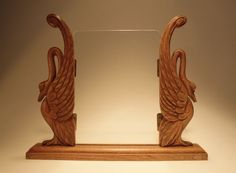 Online veilinghuis Catawiki: Art Deco large handcarved wooden photo frame - Stylish Swans