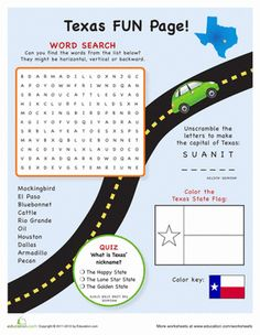 The next road trip needs brain teasers like these, with great Texas state sights, facts and a word search to round out this geography worksheet!!
