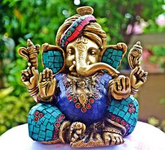Ganesha, Although he is known by many attributes, Ganesha's elephant head makes him easy to identify. Ganesha is widely revered as the remover of obstacles, the patron of arts and sciences and the deva of intellect and wisdom. As the god of beginnings, he is honoured at the start of rituals and ceremonies. Ganesha is also invoked as patron of letters and learning during writing sessions. -excerpted from Wikipedia