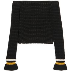 3.1 Phillip Lim Off-the-shoulder smocked cotton-blend sweater (1.760.800 IDR) ❤ liked on Polyvore featuring tops, sweaters, my clothes, blouses, shirts, black, off the shoulder tops, stripe top, cotton blend shirts and striped off the shoulder top