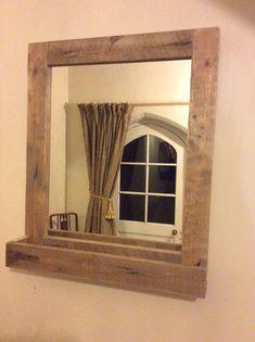 Bathroom Mirror Rustic espejo de baño rústicos de madera reciclada de por palletgenesis