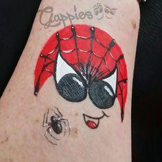 Spidergappie painted by Schminkkoppies. Facepaint www.schminkkoppies.nl Gappies www.gappies.nl