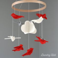 Bird Mobile  Mango Gray and White Birds  Cloud by dundryhill, $49.00