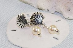 Sea Shell Earrings Pearl Dangle Earrings Summer by ornatetreasures