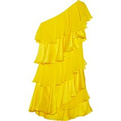 Halston Heritage Tiered silk-chiffon and satin dress ($190) ❤ liked on Polyvore featuring dresses, vestidos, yellow, tops, marigold, satin cocktail dress, yellow cocktail dress, holiday cocktail dresses, tiered cocktail dress and holiday dresses