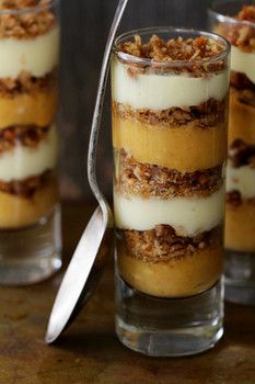Art Pumpkin Praline Trifle - this is on my list of Thanksgiving desserts! I believe I'll make it in a big trifle dish though. eat-it Thanksgiving Recipes, Fall Recipes, Holiday Recipes, Unique Thanksgiving Desserts, Just Desserts, Dessert Recipes, Trifle Desserts, Dessert Shooters, Mini Desserts