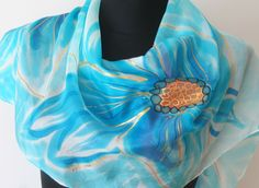 #Hand #painted #blue #floral #silk #scarf. Shades of blue - turquoise and sky-blue. Flowers scarf. Art scarf. Golden gutta lines. https://www.etsy.com/listing/384438092/hand-painted-blue-floral-silk-scarf?ref=shop_home_active_1