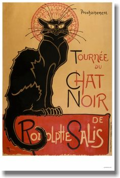 "Tournée Du Chat Noir De Rodolphe Salis - NEW Vintage Reprint Poster | 12"" x 18"" Poster on High Quality heavy 80lb satin cover paper - durable and can stand up to all kinds of abuse and it won't pucker and wrinkle like others do. 